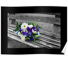 Northport Harbor Bench With A Bouquet Of Flowers - Northport, New York Poster