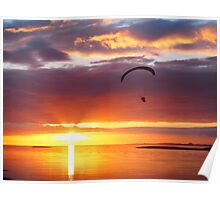 Flying in the sunset Poster