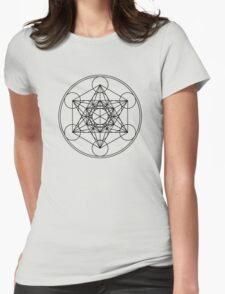 Metatrons Cube, Flower of life, Sacred Geometry Womens Fitted T-Shirt