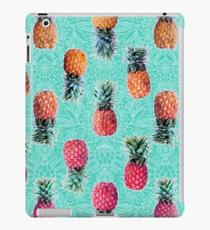 From Pineapple to Pink - tropical doodle pattern on mint iPad Case/Skin