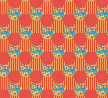 Orange Floral Faux Patchwork Hexagons Pattern by helikettle
