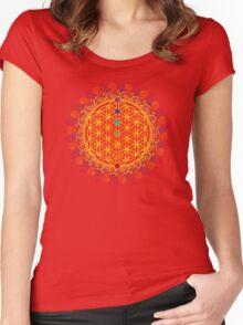 FLOWER OF LIFE, CHAKRAS, SPIRITUALITY, YOGA, ZEN,  Women's Fitted Scoop T-Shirt
