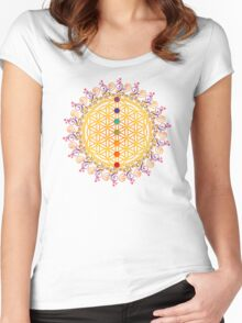 FLOWER OF LIFE, CHAKRAS, SPIRITUALITY, YOGA, ZEN,  Women's Fitted Scoop T-Shirt