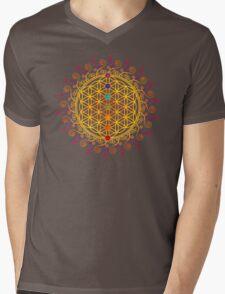 FLOWER OF LIFE, CHAKRAS, SPIRITUALITY, YOGA, ZEN,  Mens V-Neck T-Shirt