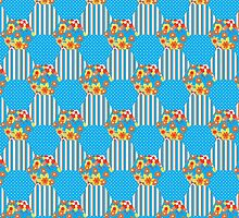 Sky Blue Floral Faux Patchwork Hexagons Pattern by helikettle