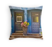 Duplex Entrance Decorated with Flowers in Planters Throw Pillow