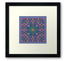 Floral Rangoli Pattern with Border on Blue Framed Print