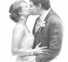 just married couple drawing by Mike Theuer
