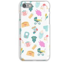 Pattern of baby goods icons. Children flat icons. With the new baby! iPhone Case/Skin