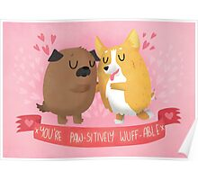 Paw-sitively Wuff-able Valentine's Day Card Poster
