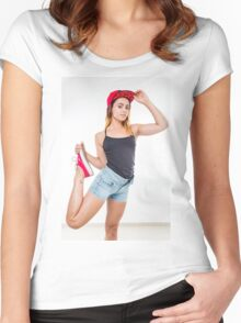 Flexible female teen with red baseball cap wearing black top  Women's Fitted Scoop T-Shirt