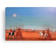"""Ned Kelly """"Showdown at the Bank""""  Australia. Original for Sale Worldwide; SOLD Canvas Print"""