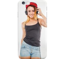 Playful female teen with headphones and red baseball cap wearing black top  iPhone Case/Skin