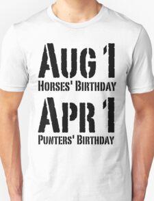 Punters' Birthday - Black Lettering, Funny T-Shirt