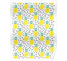 Pineapple fun modern minimal scandi design fresh fruit tropical island summer beach socal vegan Poster