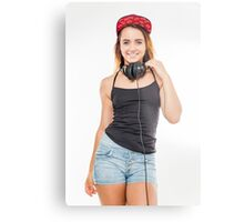 Playful female teen with headphones and red baseball cap wearing black top  Metal Print