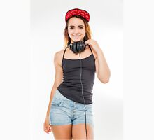 Playful female teen with headphones and red baseball cap wearing black top  Unisex T-Shirt