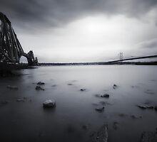 Forth Bridges B&W by bluefinart