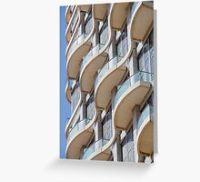 Balconies on a residential building form a repetitive pattern  Greeting Card