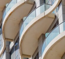 Balconies on a residential building form a repetitive pattern  Sticker