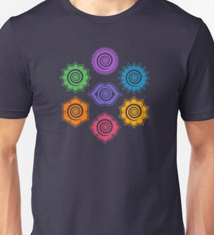 7 Chakras, Cosmic Energy Centers, Evolution, Meditation, Enlightenment Unisex T-Shirt