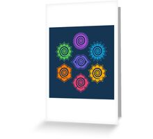 7 Chakras, Cosmic Energy Centers, Evolution, Meditation, Enlightenment Greeting Card