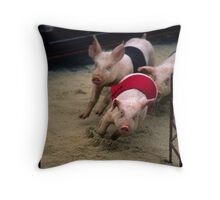 Racing Pigs At The Melbourne Show 2008 Throw Pillow