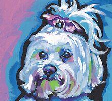 Maltese Dog Bright colorful pop dog art by bentnotbroken11