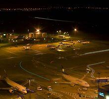 ATC Edinburgh Airport At Night by Richard Hanley www.scotland-postcards.com