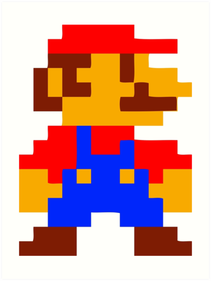 14766861 Super Mario Bros Pixel on Spiral Frame
