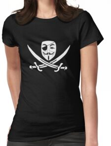 Anonymous mask skull and crossbones pirate Womens Fitted T-Shirt