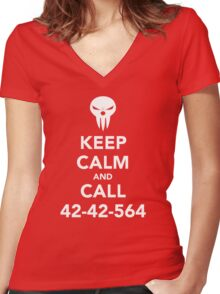 Keep calm and call 42-42-564 Call the Shinigami Women's Fitted V-Neck T-Shirt
