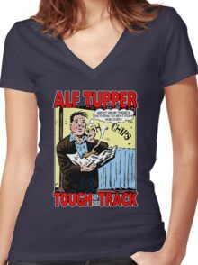 Alf Tupper Tough of the Track Comic Fish & Chips Women's Fitted V-Neck T-Shirt