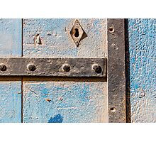 Blue Weathered wooden background and hinges  Photographic Print