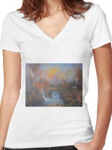 Farewell To Rivendell (The Passing Of The Elves ) Women's Fitted V-Neck T-Shirt