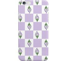 Purple Violets and Check Gingham Faux Patchwork Pattern iPhone Case/Skin