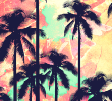 Colorful Neon Watercolor with Black Palm Trees Sticker
