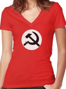 Hammer and sickle communist logo  Women's Fitted V-Neck T-Shirt