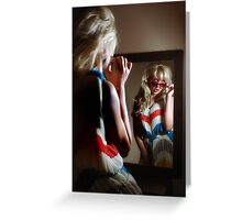 Sexy girl in the mirror Greeting Card