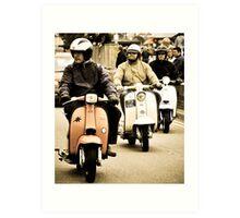 Old trio ride into town Art Print