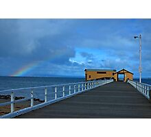 Queescliff pier with rainbow Photographic Print