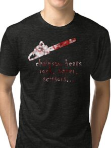 chainsaw beats rock, paper, scissors Tri-blend T-Shirt