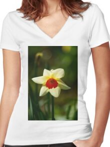 Backlit Narcissus Women's Fitted V-Neck T-Shirt