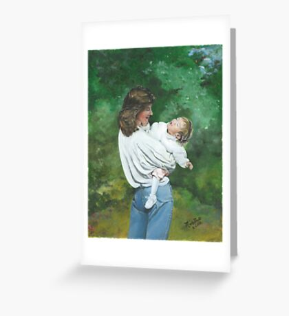 Callie and Me/Oil on canvas Greeting Card