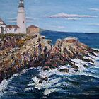 Portland Head Lighthouse with Rocks by Richard Nowak