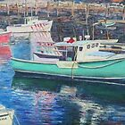 Green Boat Reflections, Perkins Cove, Rockport, MA by Richard Nowak