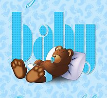 Sleeping Ted - Baby Blue (Card) by ifourdezign