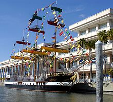 Pirate Ship and Tampa Convention Center by David Lee Thompson