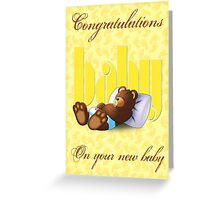 Sleeping Ted - Baby Yellow (Card) Greeting Card