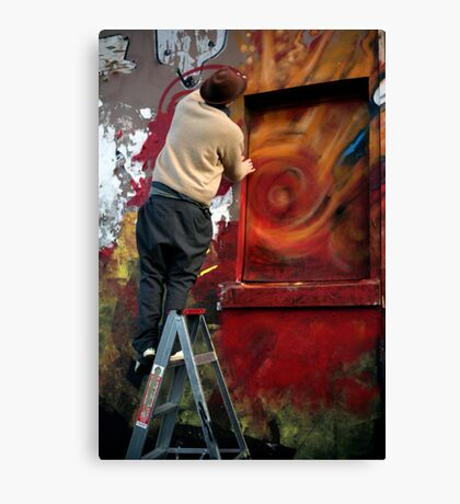 Graffiti artists at work Canvas Print